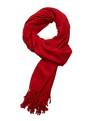 O2. SOLID WOOL SCARF - BRIGHT RED