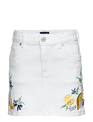 D2. SUMMER EMBROIDERY TWILL SKIRT - WHITE