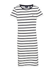 D1. TG BRETON STRIPED JERSEY DRESS - EGGSHELL