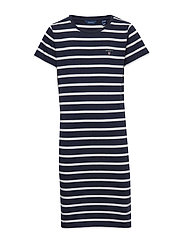 D1. TG BRETON STRIPED JERSEY DRESS - EVENING BLUE
