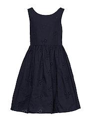 D2. BRODERIE ANGLAISE DRESS - EVENING BLUE