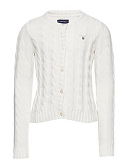 COTTON CABLE CARDIGAN - EGGSHELL
