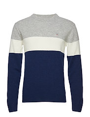 O3. COLORBLOCK STRIPE CREW - EVENING BLUE