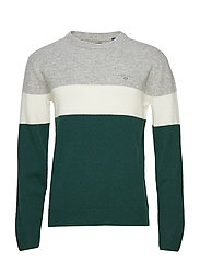 O3. COLORBLOCK STRIPE CREW - PINE GREEN