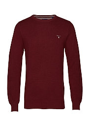 COTTON PIQUE CREW - BORDEAUX MELANGE