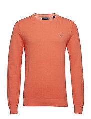 COTTON PIQUE CREW - CORAL ORANGE