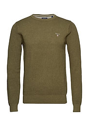 COTTON PIQUE CREW - KHAKI GREEN MEL