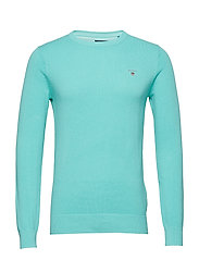 COTTON PIQUE CREW - POOL GREEN