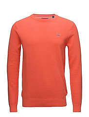 COTTON PIQUE CREW - STRONG CORAL