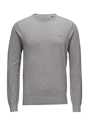 COTTON PIQUE CREW - GREY MELANGE
