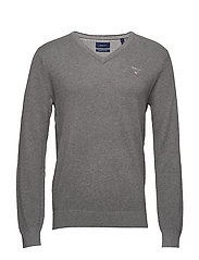COTTON PIQUE V-NECK - DARK GREY MELANGE