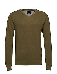 COTTON PIQUE V-NECK - KHAKI GREEN MEL
