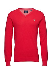 COTTON PIQUE V-NECK - WATERMELON RED