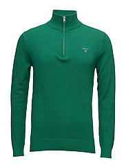 COTTON PIQUE HALF ZIP - KELLY GREEN