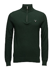 COTTON PIQUE HALF ZIP - TARTAN GREEN