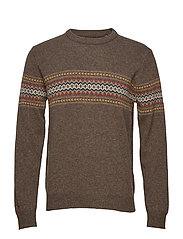 O2. CHEST FAIRISLE CREW - BROWN MELANGE