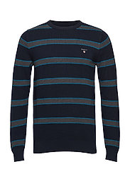 O1. COTTON PIQUE STRIPE CREW - EVENING BLUE