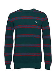 O1. COTTON PIQUE STRIPE CREW - PONDEROSA PINE