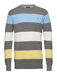 O1. COTTON PIQUE MULTISTRIPE CREW - DARK GREY MELANGE