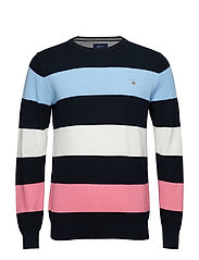 O1. COTTON PIQUE MULTISTRIPE CREW - EVENING BLUE