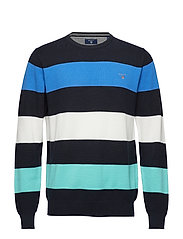 COTTON PIQUE MULTISTRIPE CREW - EVENING BLUE