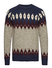 O2. COZY FAIRISLE CREW - GREY MELANGE