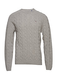 O3. LAMBSWOOL CABLE CREW - GREY MELANGE