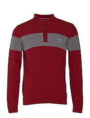 O1. CHEST STRIPE KNITTED POLOSHIRT - WINTER WINE