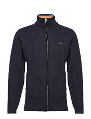 D1. DOUBLE FACED FULL ZIP CARDIGAN - EVENING BLUE