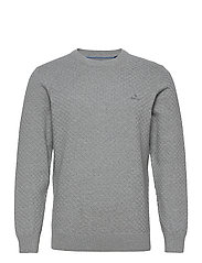 D1. COTTON TEXTURE CREW - GREY MELANGE