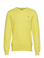 STRETCH COTTON CONTRAST CREW - LEMON ZEST