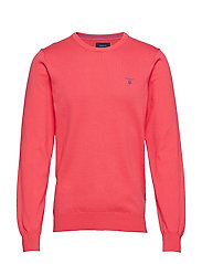 STRETCH COTTON CONTRAST CREW - WATERMELON RED
