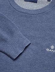 GANT - COTTON PIQUE C-NECK - knitted round necks - denim blue mel - 2