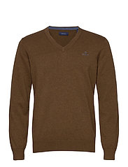 CLASSIC COTTON V-NECK - HAZELNUT MELANGE