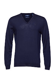 FINE MERINO V-NECK - EVENING BLUE