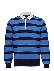 O1. KNITTED STRIPED RUGGER - PALACE BLUE
