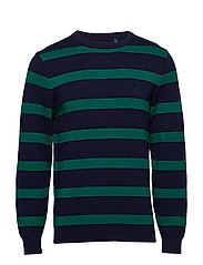 O1. KNITTED STRIPED CREW - IVY GREEN
