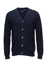 OP2. INLAY STITCH V-NECK CARDIGAN - MARINE