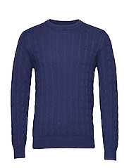 O1. HALF CARDIGAN CABLE CREW - PERSIAN BLUE