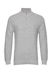 D1. SIGNATURE WEAVE HALF ZIP - GREY MELANGE