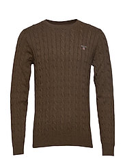 COTTON CABLE CREW - BROWN MELANGE