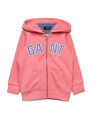 D1. GANT LOGO FULL ZIP HOODIE - STRAWBERRY PINK