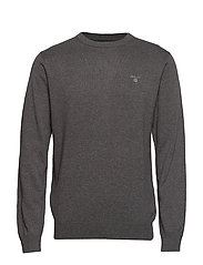LIGHT WEIGHT COTTON CREW - CHARCOAL MELANGE