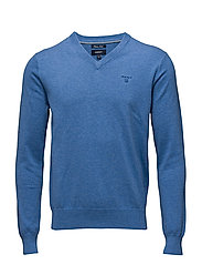 LIGHT WEIGHT COTTON V-NECK - BLUE MELANGE