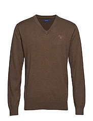 LIGHT WEIGHT COTTON V-NECK - BROWN MELANGE