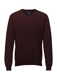 LIGHT WEIGHT COTTON V-NECK - BURGUNDY MEL