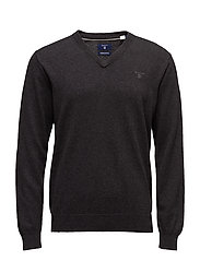 LIGHT WEIGHT COTTON V-NECK - DK CHARCOAL MELANGE