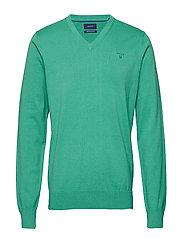 LT. WEIGHT COTTON V-NECK - GREEN MELANGE