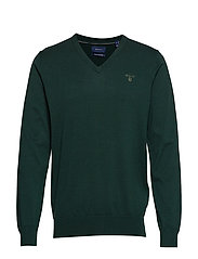LIGHT WEIGHT COTTON V-NECK - TARTAN GREEN