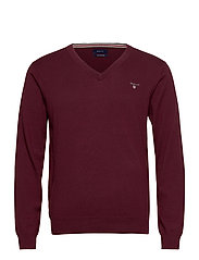 COTTON WOOL V-NECK - PORT RED